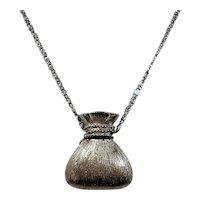 Dimensional Silvertone Money Bag Purse Pendant Choker Necklace