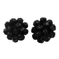 Vintage Black Glass Beaded Clip On Earrings