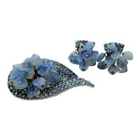 Dangle Blue Opalescent Glass Beaded Rhinestone Brooch Earring Set