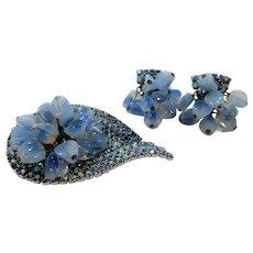 Dangle Blue Opalescent Glass Beaded Rhinestone Brooch Earring Set
