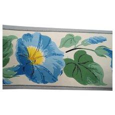 Dex Blue Flowers Wallpaper Border Roll  NOS