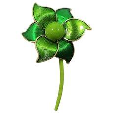 Large Dimensional Glossy Green Enameled Flower Brooch Germany