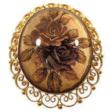 Ornate Goldtone Oval Shaped Glass Shabby Chic Floral Pendant Brooch