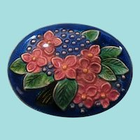Oval Shaped Enameled Blue Pink Green Flowers Metal Pin