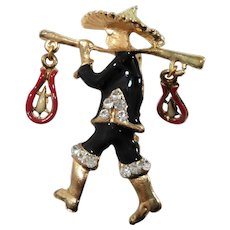 Dimensional Enameled Oriental Asian Man Carrying Fish Pole Dangle Brooch