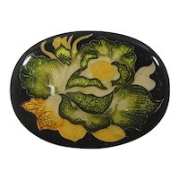 Abstract Oval Shaped Yellow Green Floral Design Brooch