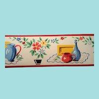 Dex Screen Printed  Wallpaper Border Roll Flowers Vase Pitcher NOS