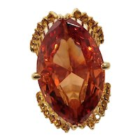 Huge Citrine Colored Faceted Marquise Glass Stone Rhinestone Ring Size 7.5