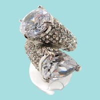 Bold Huge Dimensional Clear CZs Statement Silvertone Ring Size 8