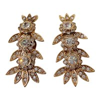 Large Kirks Folly Dimensional Floral Clear Rhinestone Clip On Earrings