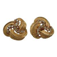 BSK Dimensional Textured Swirled Clear Rhinestones Clip On Earrings