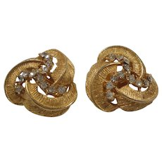 BSK Dimensional Textured Swirled Clear Rhinestones Clip On Earrings