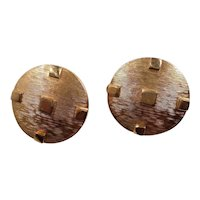 Textured Goldtone Round Raised Square Designs Clip On Earrings