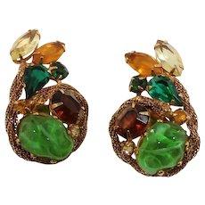 Large Goldtone Mesh Open Back Glass Stones Clip On Earrings