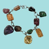 Large Caged Wire Wrapped Polished Genuine Stones Dangle Bracelet