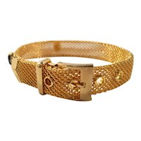Goldtone Mesh Buckle Bracelet Three Black Oval Glass Stones