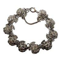 Sterling Silver Genuine Marcasites Roses Bracelet