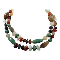 Long Strand Mixed Polished Genuine Stones Beaded Necklace