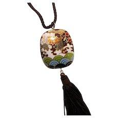 Oriental Asian Cloisonne Dragon Abstract Designs Pendant Necklace