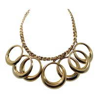 Chunky Goltone Metal Dangle Circles Statement Necklace