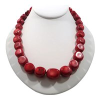 Polished Sliced Genuine Red Stone Beaded Necklace