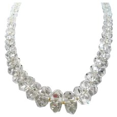 Multi Faceted Disc Shaped Clear Crystal Beaded Necklace