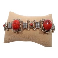 Ornate Domed Dimensional Red Cabochon Goldtone Metal Bracelet