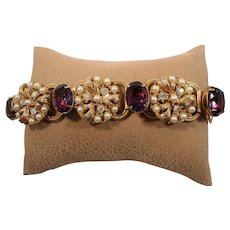 Large Purple Aurora Rhinestones Imitation Pearls Flower Bracelet