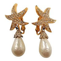 Starfish Pave Rhinestone Dangle Imitation Pearl Clip On Earrings