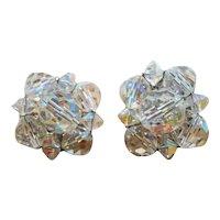 Faceted Aurora Crystal Beaded Clip On Earrings