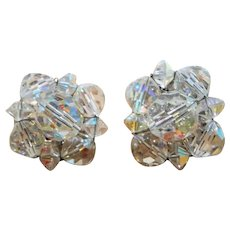 Faceted Aurora Crystal Beaded Clip On Earrings