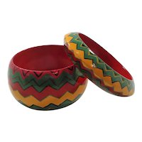 Matched Pair Yellow Green Red Wooden Bangle Bracelets