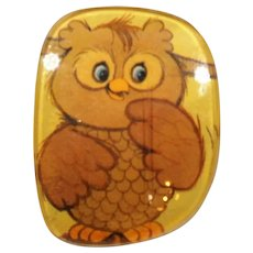 Yellow Orange Owl Eye Glass Lens Pin