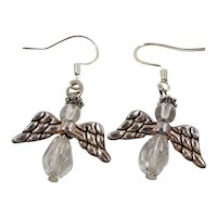 Dangle Crystal Beaded Angels  Silvertone Metal Pierced Earrings