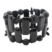 Wide Black Beaded Lucite Expansion Stretchy Bracelet
