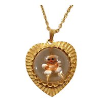 Heart Shaped Teddy Bear Jelly Belly Pendant Necklace