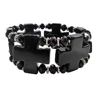 Black Lucite Beaded Stretchy Expansion Bracelet