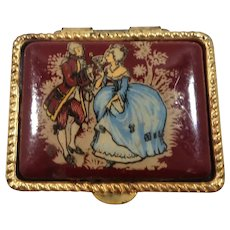 Romantic Courting Couple Goldtone Metal Pill Or Trinket Box