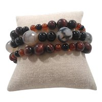 Set Of Three Elastic Stretchy Genuine Stone Glass Beaded Bracelets