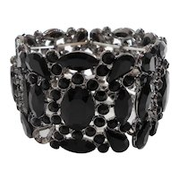 Large Wide Black Stones Stretchy Expansion Bracelet Selling As Found