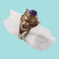 Sterling Silver Genuine Amethyst Cabochon Poison Ring Size 6