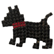 Dorothy Bauer Black Red  Rhinestone Dog Brooch