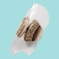 Curved Angular Scroll Designs Textured Sterling Silver Ring Size  Size 8.5