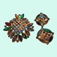 Multi Colored Glass Rhinestones Unfoiled Stones Brooch Clip On Earring Set