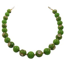 Green Apple Bakelite Rhinestone Beaded Necklace