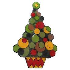 Retro Laminated Plastic Multi Colored Christmas Tree Pin