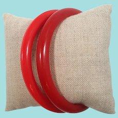 Pair Red Bakelite Bangle Bracelets