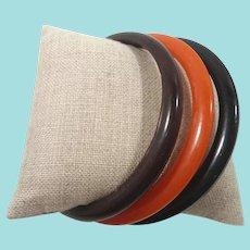 Trio Orange Brown Black Bakelite Spacer Bangle Bracelets