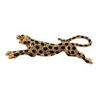 Black Enameled Spotted Cheetah Goldtone Metal Brooch