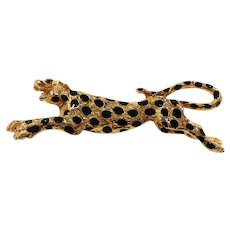Black Enameled Spotted Cheetah Goldtone Metal Brooch